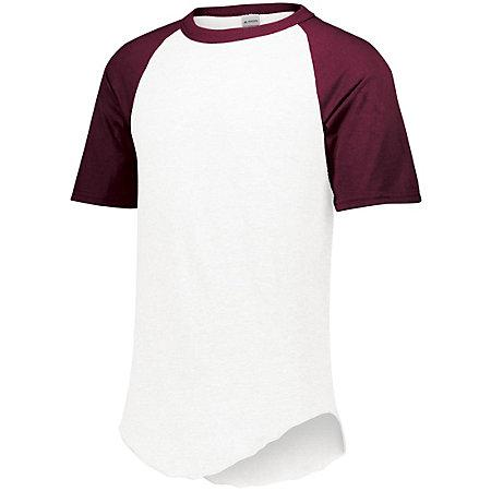 Short Sleeve Baseball Jersey White/maroon Adult