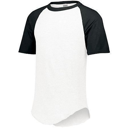 Short Sleeve Baseball Jersey White/black Adult