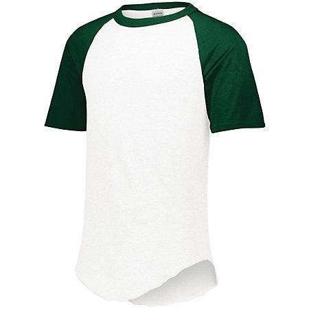 Short Sleeve Baseball Jersey White/dark Green Adult