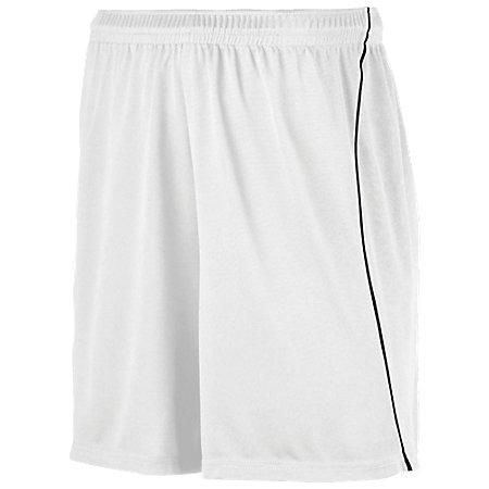Wicking Soccer Shorts With Piping White/black Adult Single Jersey &
