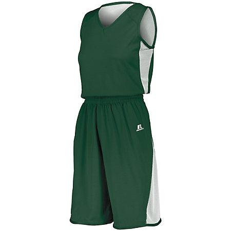 Ladies Undivided Single Ply Reversible Shorts Dark Green/white Basketball Jersey &
