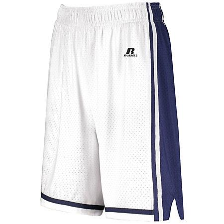 Ladies Legacy Basketball Shorts White/navy Single Jersey &