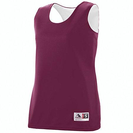 Ladies Reversible Wicking Tank Maroon/white Basketball Single Jersey & Shorts