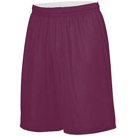 Youth Reversible Wicking Shorts Light Maroon/white Basketball Single Jersey &