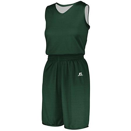 Ladies Undivided Solid Single-Ply Reversible Jersey Dark Green/white Basketball Single & Shorts