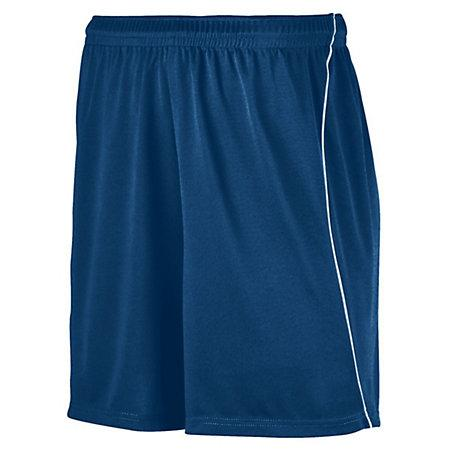 Youth Wicking Soccer Shorts With Piping Navy/white Single Jersey &