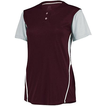 Ladies Performance Two-Button Color Block Jersey Maroon/baseball Grey Softball