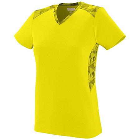 Ladies Vigorous Jersey Power Yellow/power Yellow/black Print Softball
