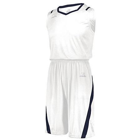 Athletic Cut Jersey Blanco / azul marino Adulto Baloncesto Single & Shorts