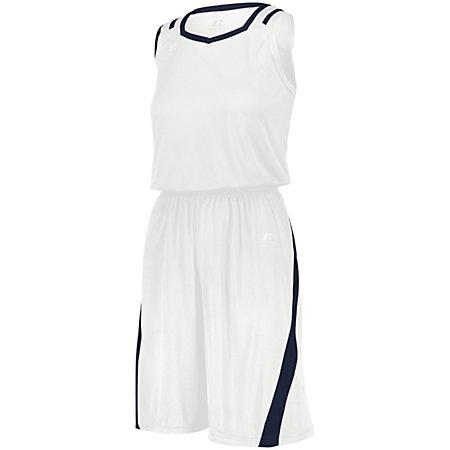 Ladies Athletic Cut Shorts White/navy Basketball Single Jersey &