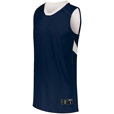 Youth Dual-Side Single Ply Basketball Jersey Navy/white & Shorts