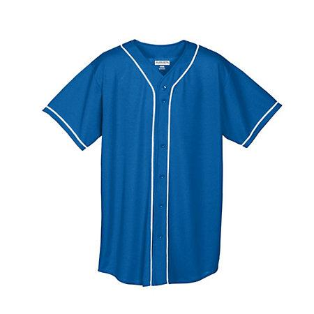 Youth Wicking Mesh Button Front Jersey Royal/white Baseball