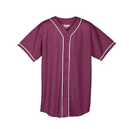 Youth Wicking Mesh Button Front Jersey Maroon/white Baseball