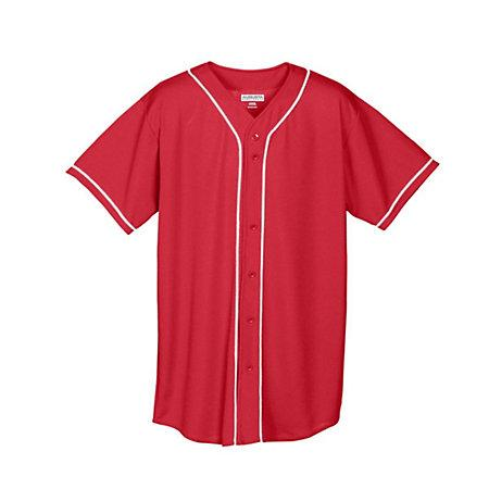 Youth Wicking Mesh Button Front Jersey Red/white Baseball