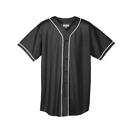 Youth Wicking Mesh Button Front Jersey Black/white Baseball