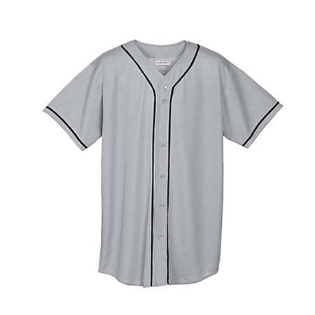 Youth Wicking Mesh Button Front Jersey Silver Grey/black Baseball