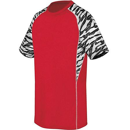 Youth Evolution Printed Shorts Sleeve Jersey Scarlet/fragment Print/white Single Soccer &