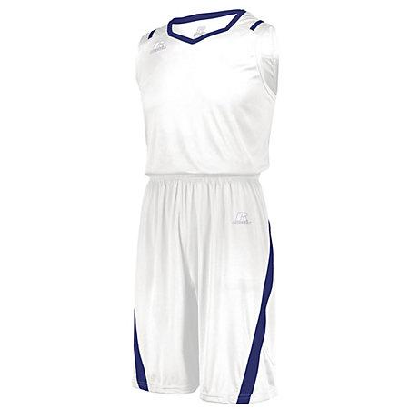 Athletic Cut Jersey White / royal Adult Baloncesto Single & Shorts