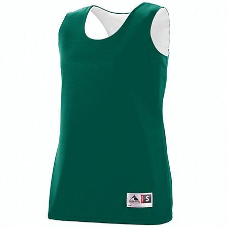 Ladies Reversible Wicking Tank Dark Green/white Basketball Single Jersey & Shorts