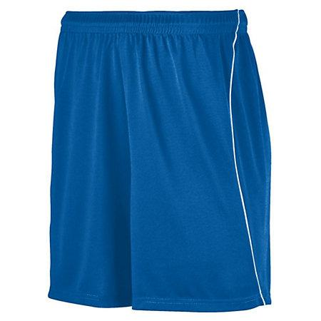 Youth Wicking Soccer Shorts With Piping Royal/white Single Jersey &