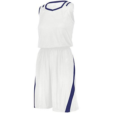 Ladies Athletic Cut Shorts White/royal Basketball Single Jersey &