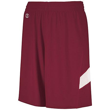 Youth Dual-Side Single Ply Basketball Shorts Cardinal/white Jersey &
