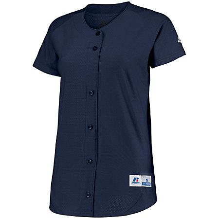 Ladies Stretch Faux Button Jersey Navy Softball