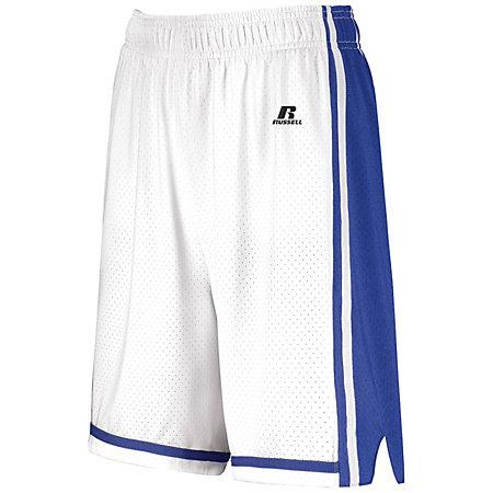 Ladies Legacy Basketball Shorts White/royal Single Jersey &