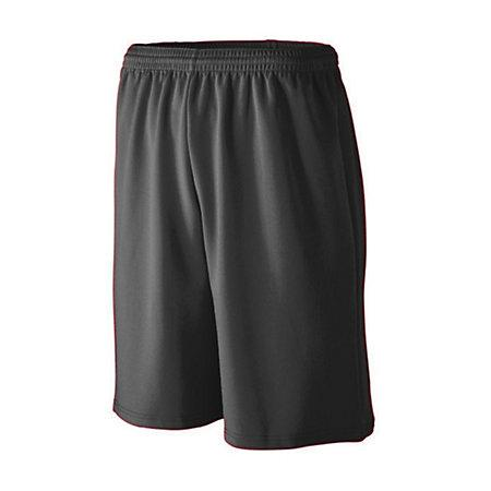 Youth Longer Length Wicking Mesh Athletic Shorts Black Basketball Single Jersey &