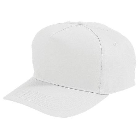 Five-Panel Cotton Twill Cap White Adult Baseball