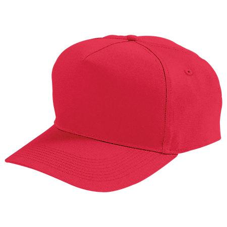 Five-Panel Cotton Twill Cap Red Adult Baseball