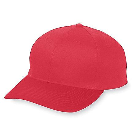 Six-Panel Cotton Twill Low-Profile Cap Red Adult Baseball