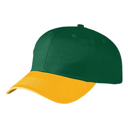 Six-Panel Cotton Twill Low-Profile Cap Dark Green/gold Adult Baseball