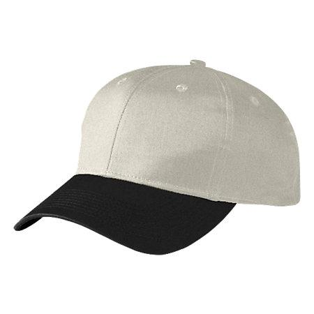 Six-Panel Cotton Twill Low-Profile Cap Silver Grey/black Adult Baseball