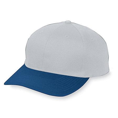 Six-Panel Cotton Twill Low-Profile Cap Silver Grey/navy Adult Baseball