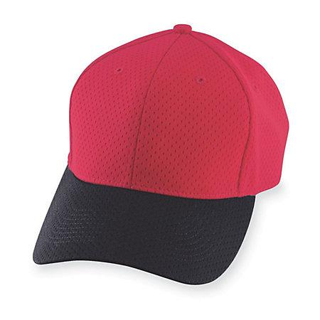 Athletic Mesh Cap-Youth Red / black Youth Baseball