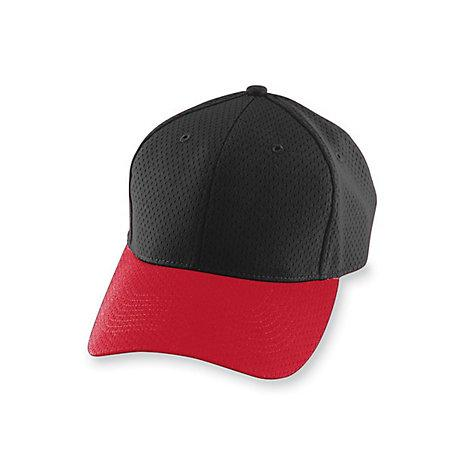 Athletic Mesh Cap-Youth Negro / rojo Béisbol juvenil