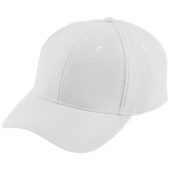 Youth Adjustable Wicking Mesh Cap White Baseball
