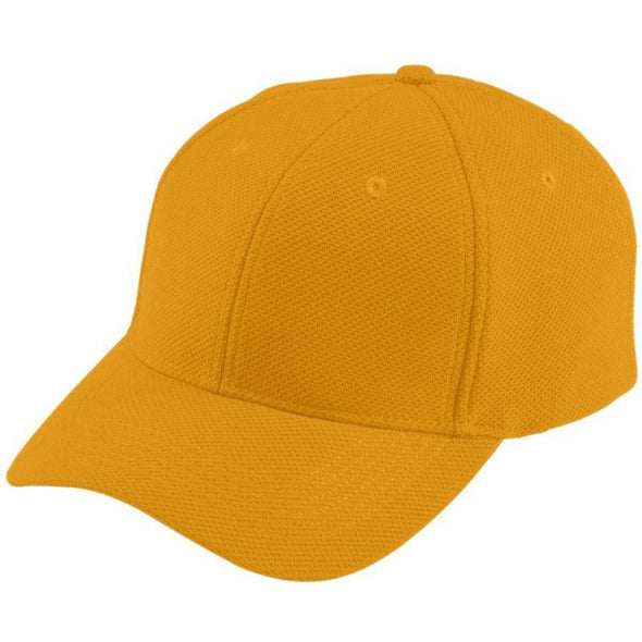 Youth Adjustable Wicking Mesh Cap Gold Baseball