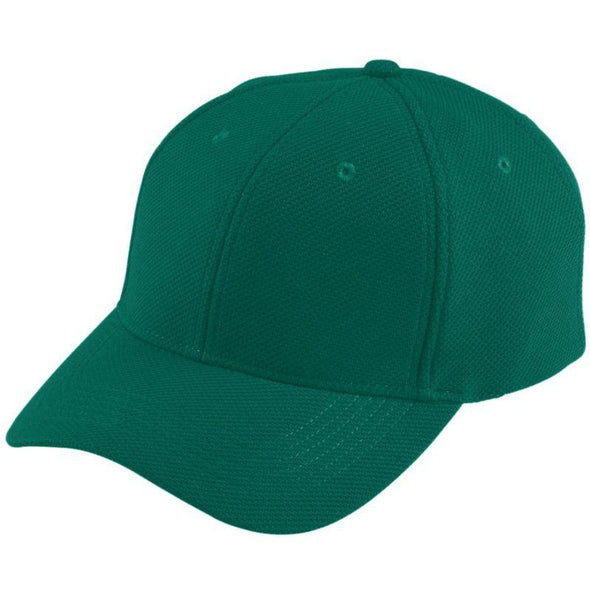 Youth Adjustable Wicking Mesh Cap Dark Green Baseball