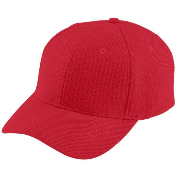 Youth Adjustable Wicking Mesh Cap Red Baseball