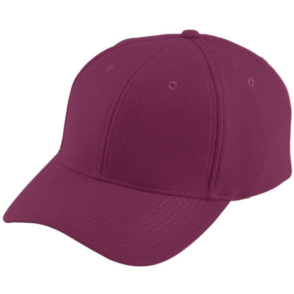 Youth Adjustable Wicking Mesh Cap Maroon Baseball