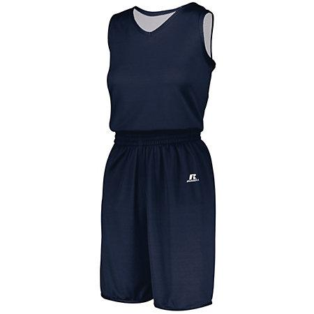 Ladies Undivided Solid Single-Ply Reversible Jersey Navy/white Basketball Single & Shorts