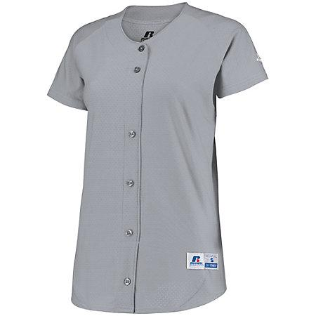 Ladies Stretch Faux Button Jersey Baseball Grey Softball
