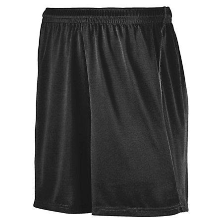 Youth Wicking Soccer Shorts With Piping Black/black Single Jersey &