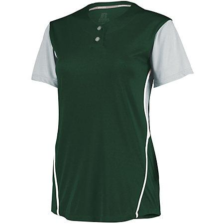 Ladies Performance Two-Button Color Block Jersey Dark Green/baseball Grey Softball