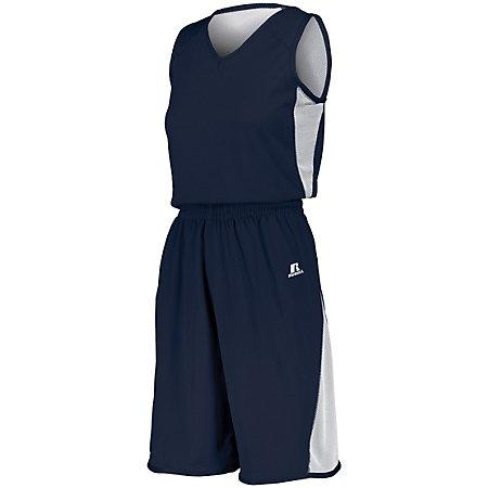 Ladies Undivided Single Ply Reversible Shorts Navy/white Basketball Jersey &