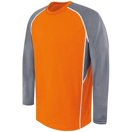 Adult Long Sleeve Evolution Top Orange/graphite/white Basketball Single Jersey & Shorts