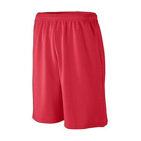 Youth Longer Length Wicking Mesh Athletic Shorts Red Basketball Single Jersey &