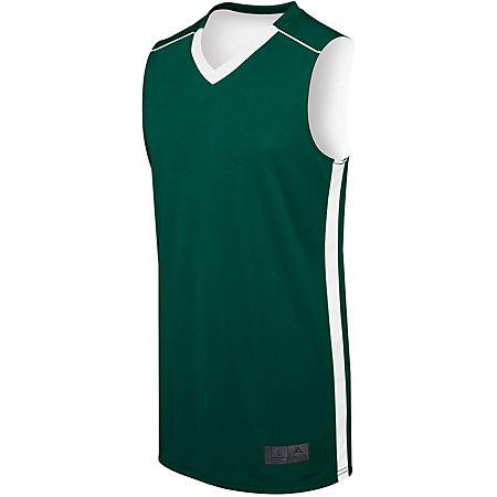 Adult Competition Reversible Jersey Forest/white Basketball Single & Shorts